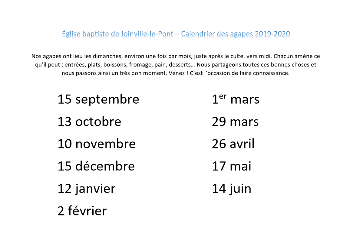 Calendrier agapes 2019 2020