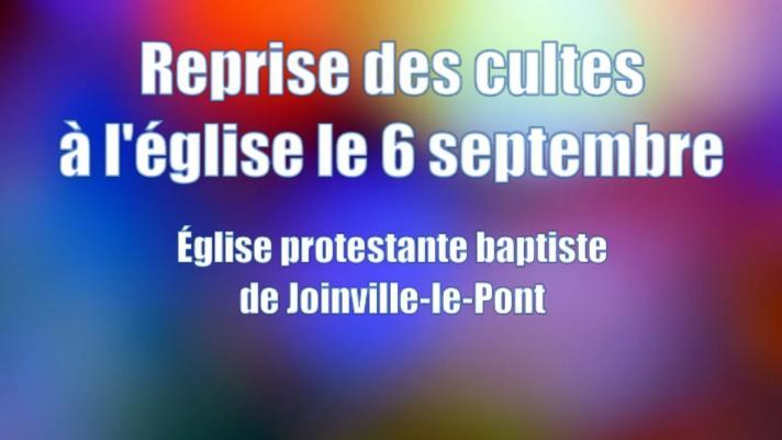 Reprise des cultes à l'église le 6 septembre à 10h